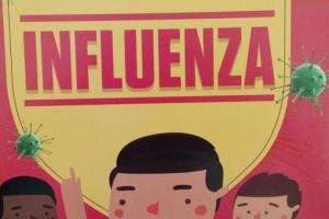 Ilustração - Folheto governamental explica o que é gripe e orienta para as formas de prevenção da doença